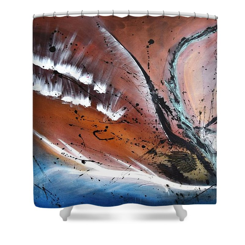 The Rising. Original Acrylic Painting On Canvas Shower Curtain featuring the painting The Rising by Adrianna Tarsha - McMillan