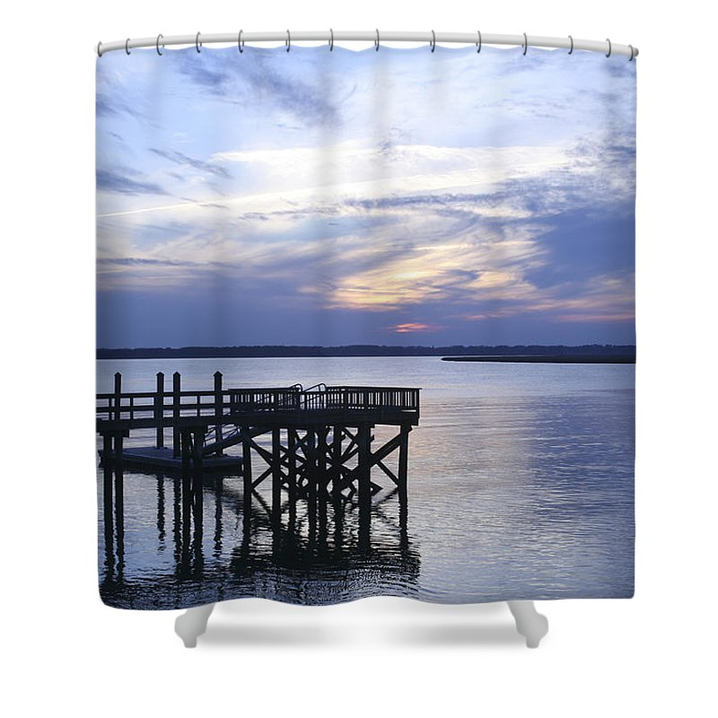 Landscape Shower Curtain featuring the photograph The River At Dusk by Phill Doherty