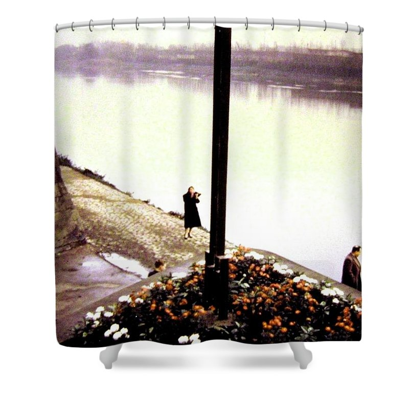 1955 Shower Curtain featuring the photograph The River Seine 1955 by Will Borden