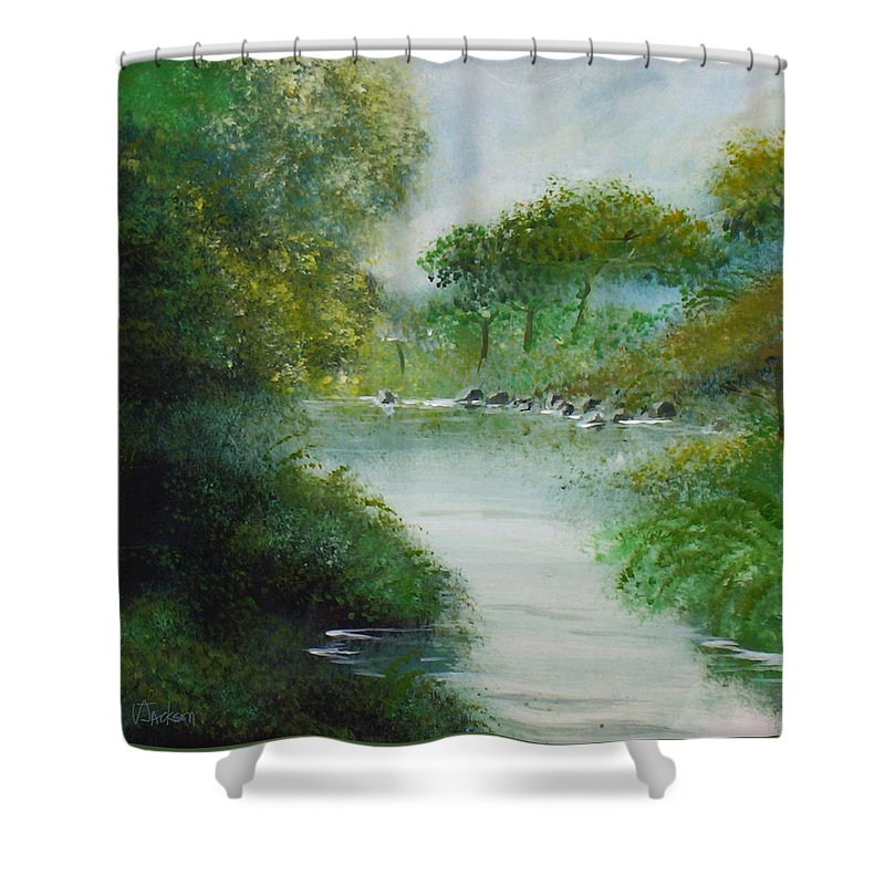 River Water Trees Clouds Leaves Nature Green Shower Curtain featuring the painting The River by Veronica Jackson