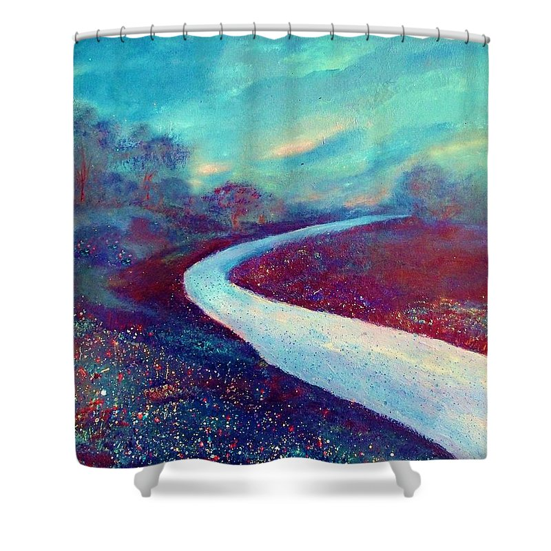 Landscape Shower Curtain featuring the painting The Road - New Beginnings by Robin Monroe