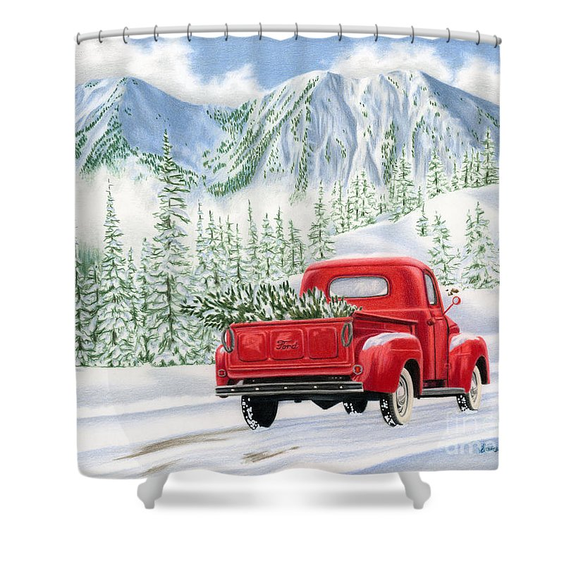 Vintage Christmas Shower Curtains