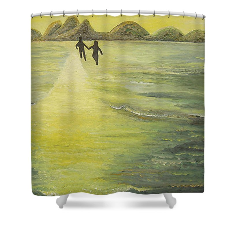 Soul Shower Curtain featuring the painting The Road In The Ocean Of Light by Karina Ishkhanova