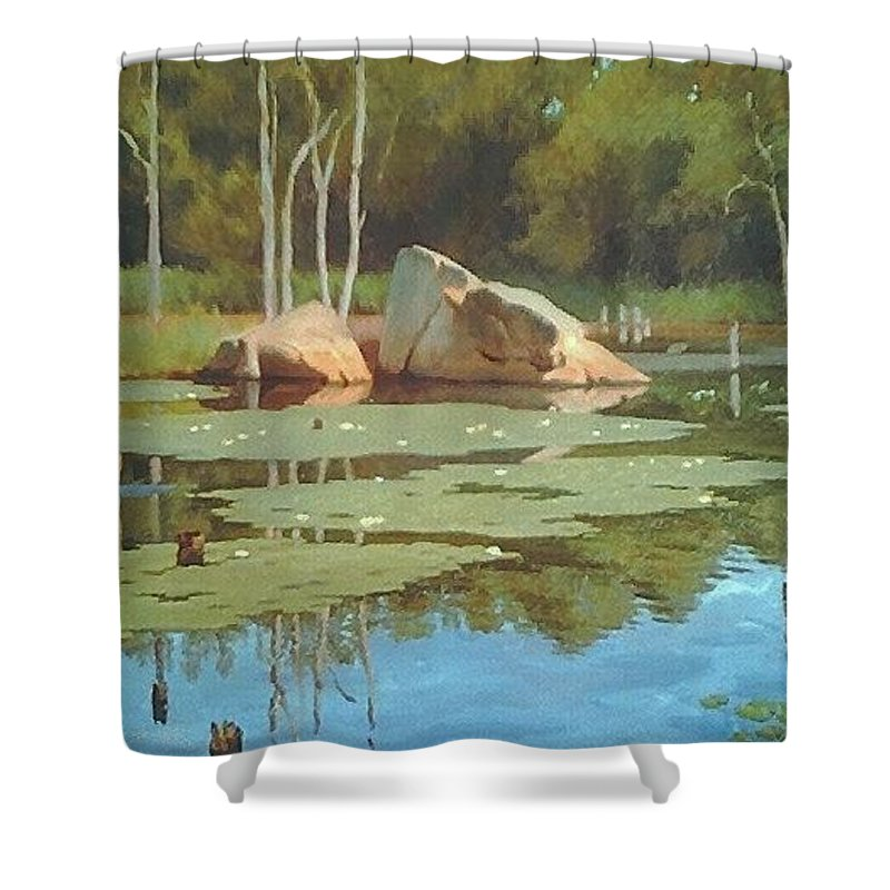 Landscape Shower Curtain featuring the painting The Rock by Dianne Panarelli Miller