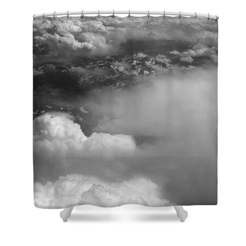 Aerial Photography Shower Curtain featuring the photograph The Rockies by Richard Rizzo