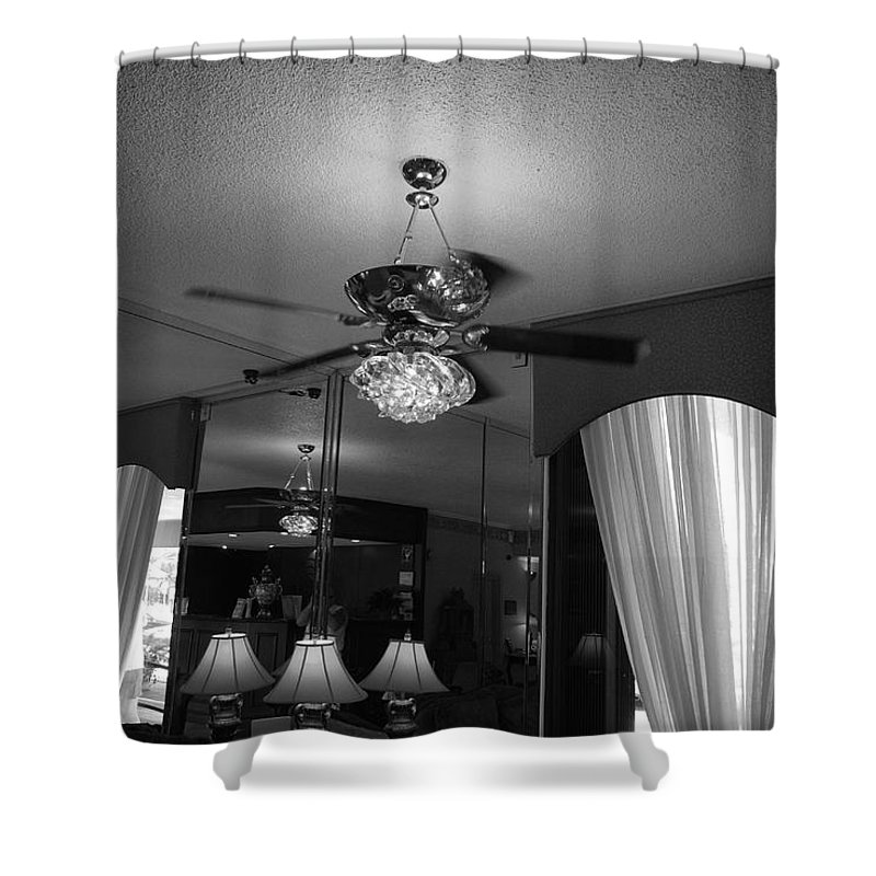 Black And White Shower Curtain featuring the photograph The Room With Many Views by Rob Hans