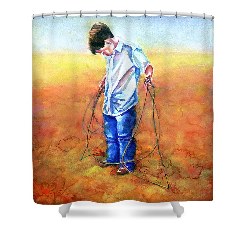 Child Shower Curtain featuring the painting The Roping Lesson by Shannon Grissom