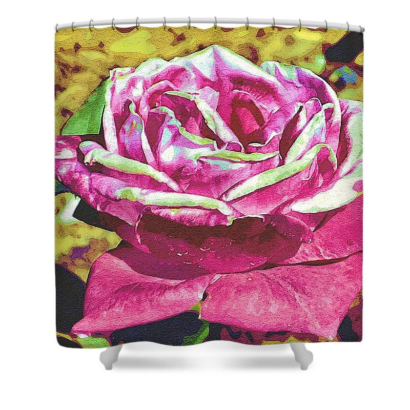 Rose Shower Curtain featuring the digital art The Rose by Nora Martinez