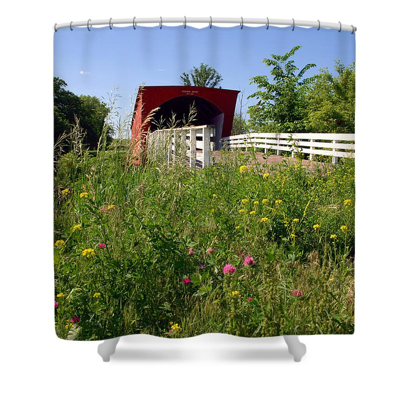 Photography Shower Curtain featuring the photograph The Roseman Bridge In Madison County Iowa by Susanne Van Hulst