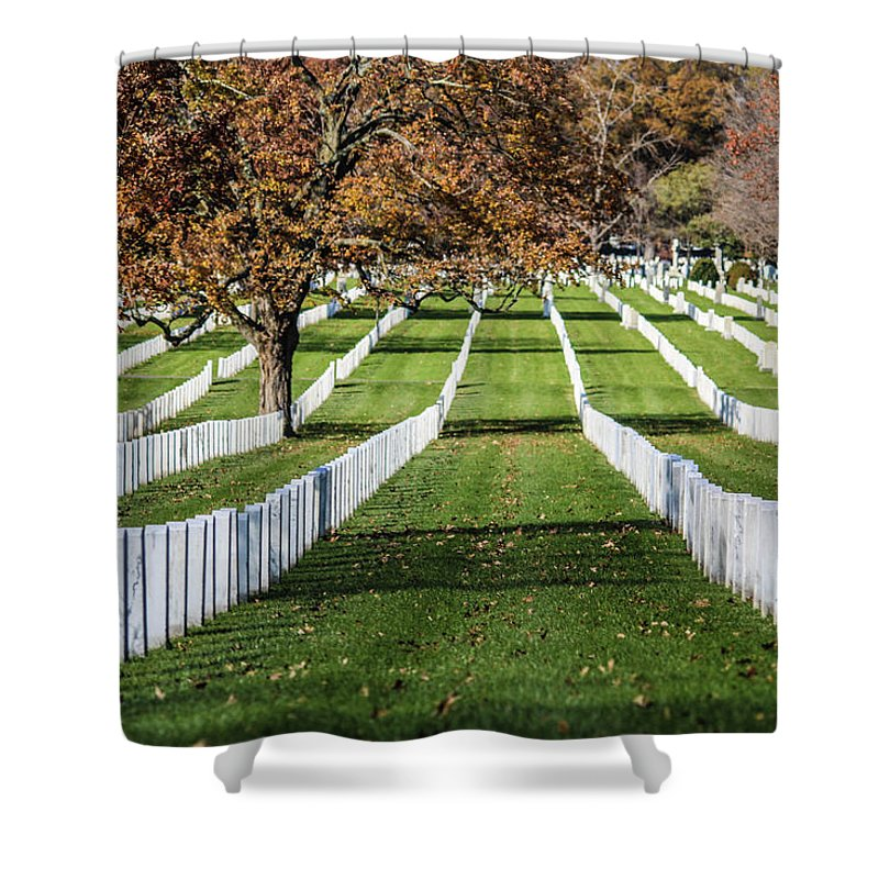 These Are The Unending Rows Of Tombstones At Arlington Cemetery Shower Curtain featuring the photograph The Rows by William Rogers
