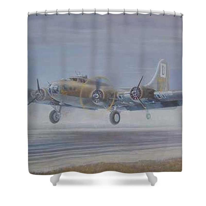 The Only Survivor Of The 100th Bomb Group On The October 10 Shower Curtain featuring the painting The Royal Flush comes home by Scott Robertson