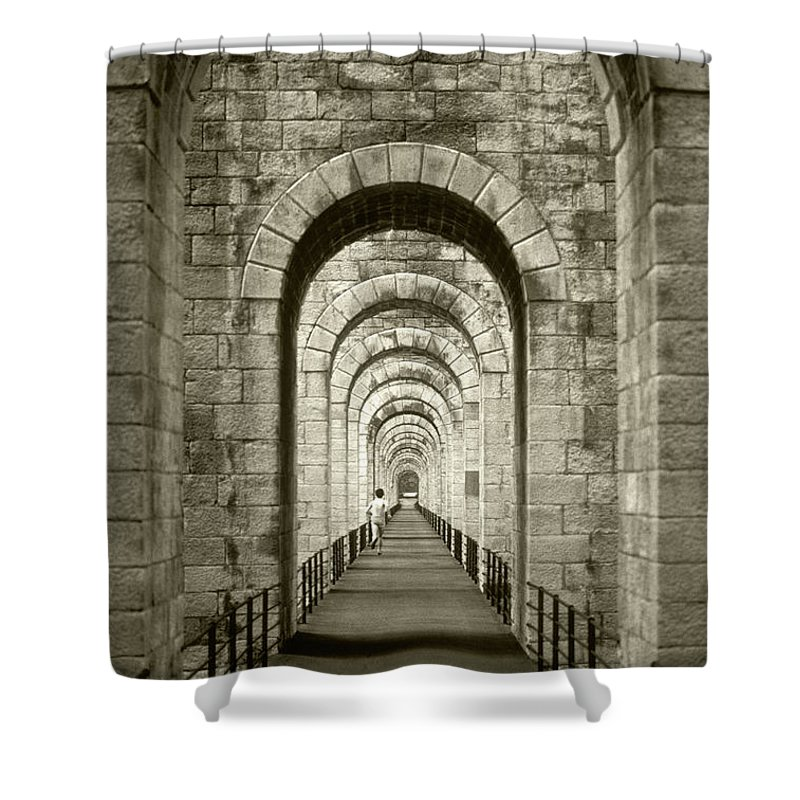 Running Shower Curtain featuring the photograph The Runner by Steve Williams