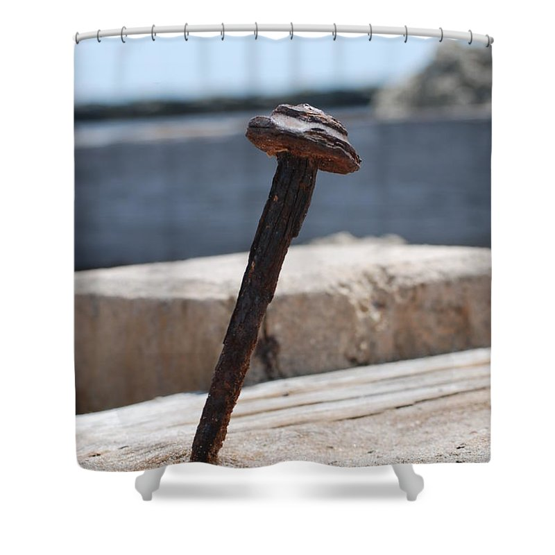 Sand Shower Curtain featuring the photograph The Rusted Spike by Rob Hans