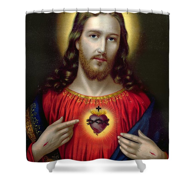 Jesus Shower Curtain Featuring The Painting Sacred Heart Of By English School