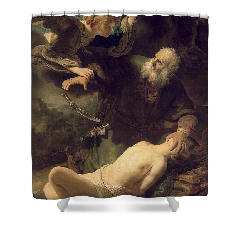 Rembrandt Shower Curtain featuring the painting The Sacrifice Of Abraham by Rembrandt