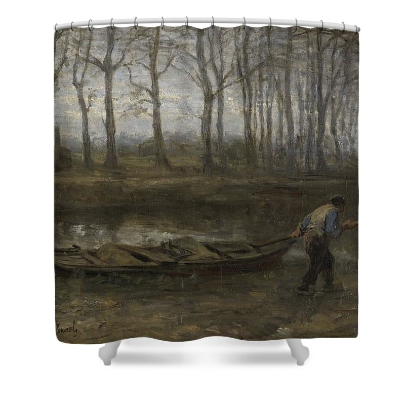 The Sand Bargeman Shower Curtain featuring the painting The Sand Bargeman by Celestial Images