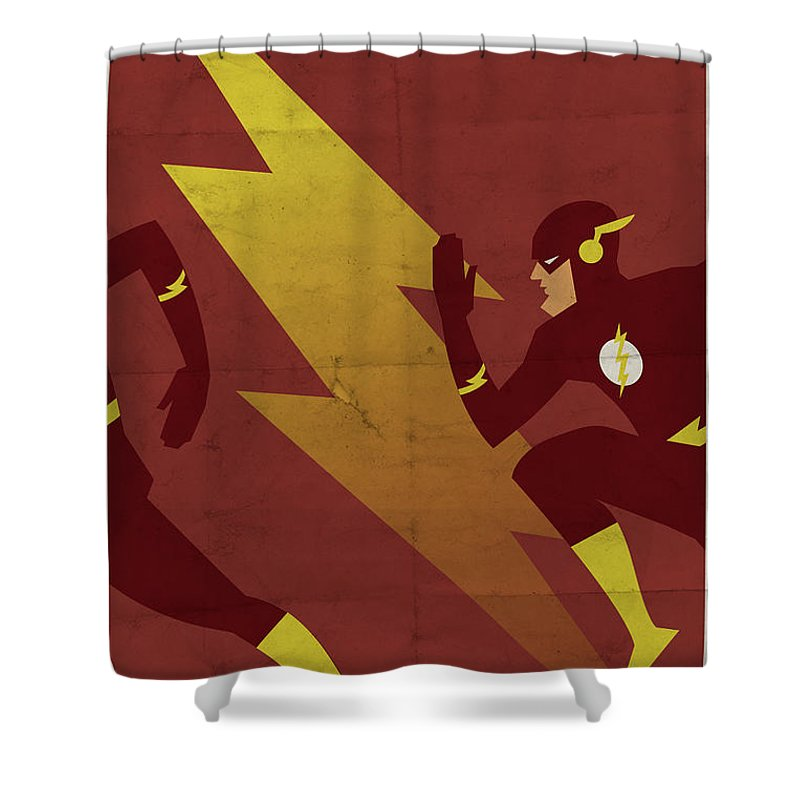Fast Shower Curtain Featuring The Digital Art Scarlet Speedster By Michael Myers