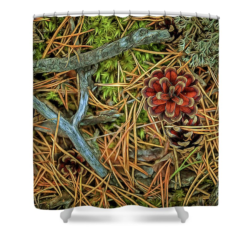 Abstract Shower Curtain featuring the photograph The Scent Of Pine Forest II by Veikko Suikkanen