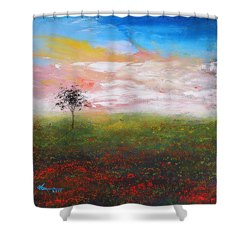The Scented Sky Shower Curtain featuring the painting The Scented Sky by Kume Bryant