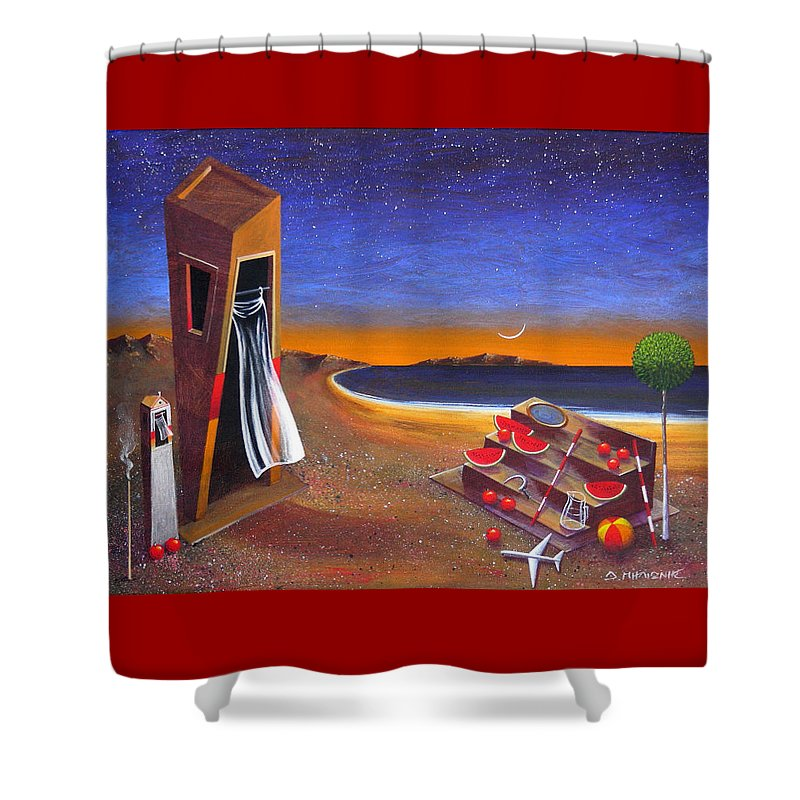 Landscape Shower Curtain featuring the painting The School Of Metaphysical Thought by Dimitris Milionis