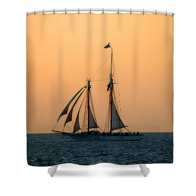 Boat Shower Curtain featuring the photograph The Schooner America by Susanne Van Hulst