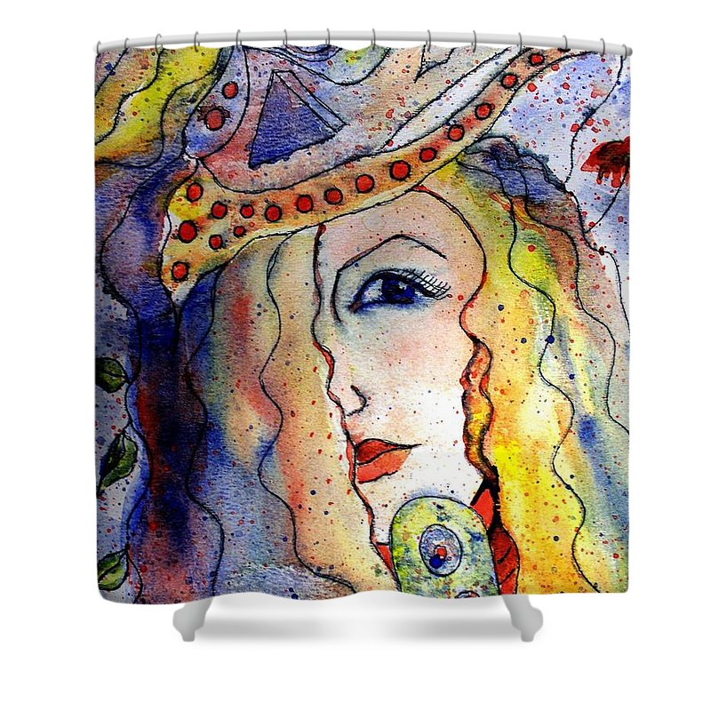 Watercolor Painting Shower Curtain featuring the painting The Sea Becomes Her by Robin Monroe