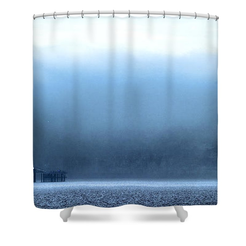 Pier Shower Curtain featuring the photograph The Sea Mist Lifts To Reveal The Great Orme Behind Llandudno Pier by Mal Bray