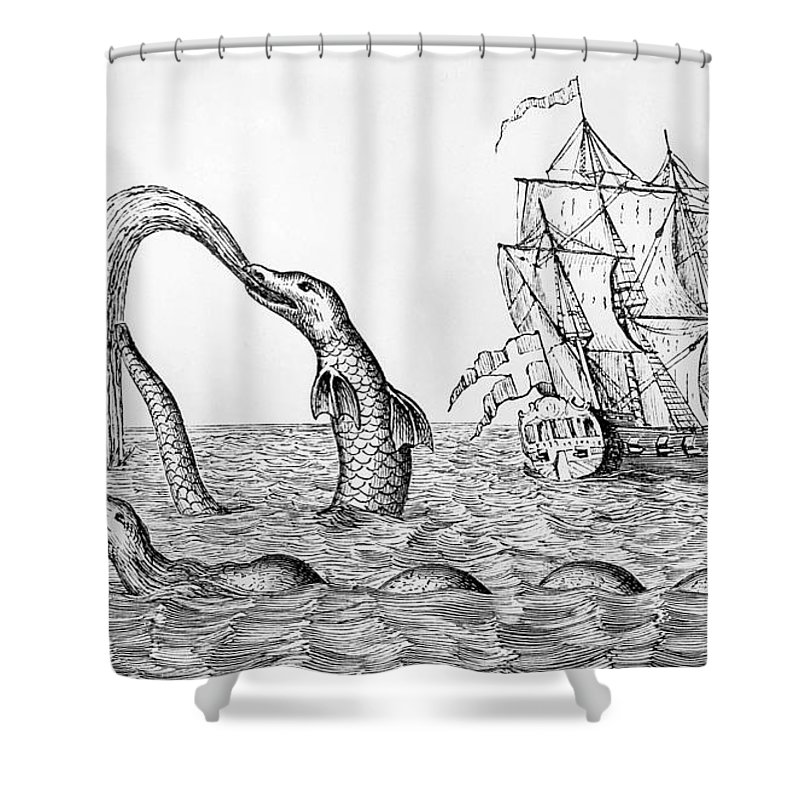 Monster Shower Curtain Featuring The Drawing Sea Serpent By English School