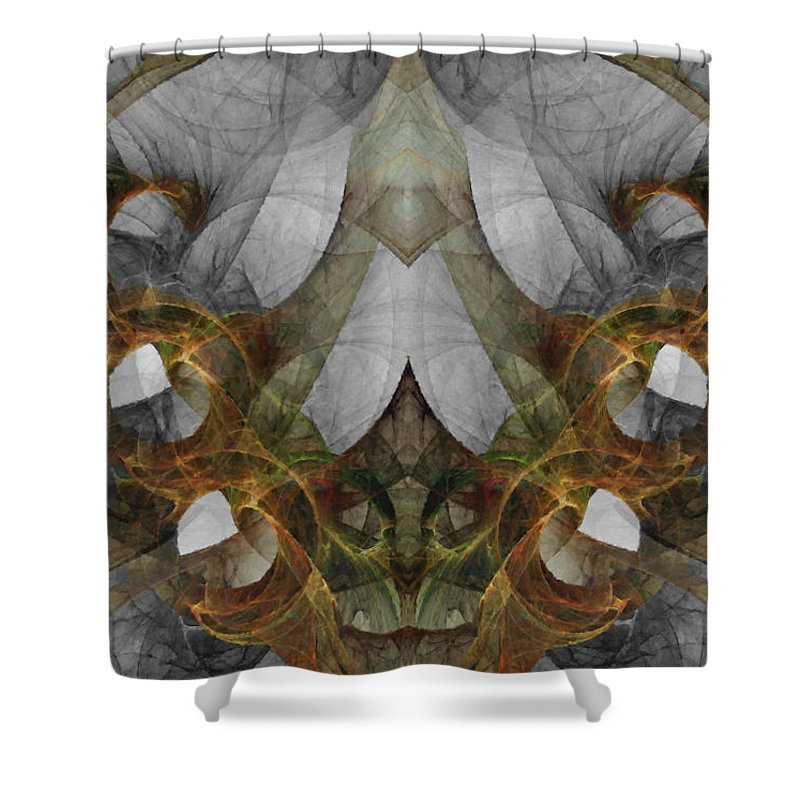 Abstract Shower Curtain featuring the digital art The Second Labor Of Herakles by NirvanaBlues