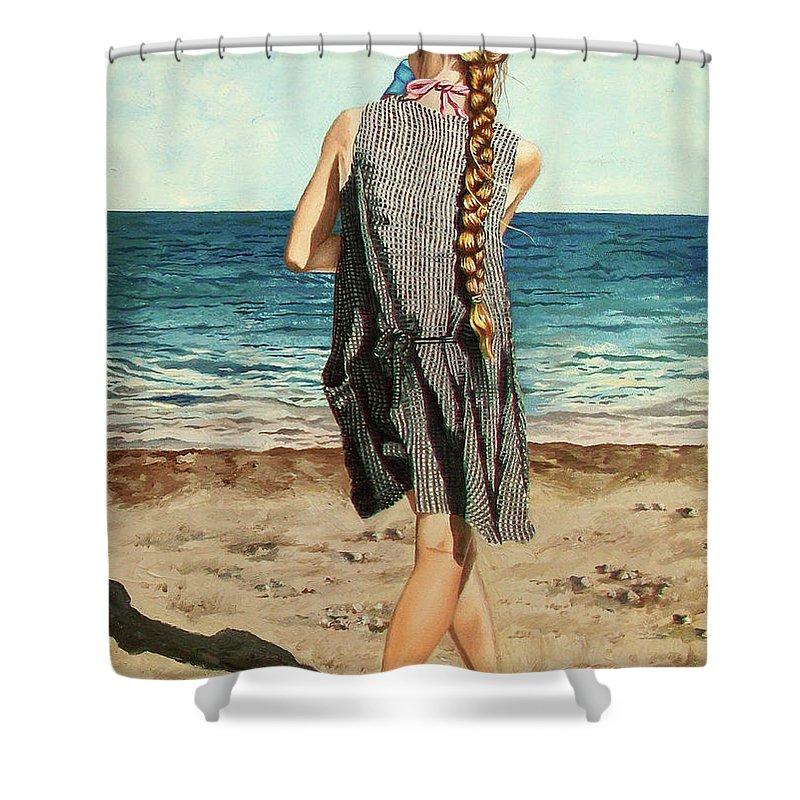 Sea Shower Curtain featuring the painting The Secret Beauty - La Belleza Secreta by Rezzan Erguvan-Onal