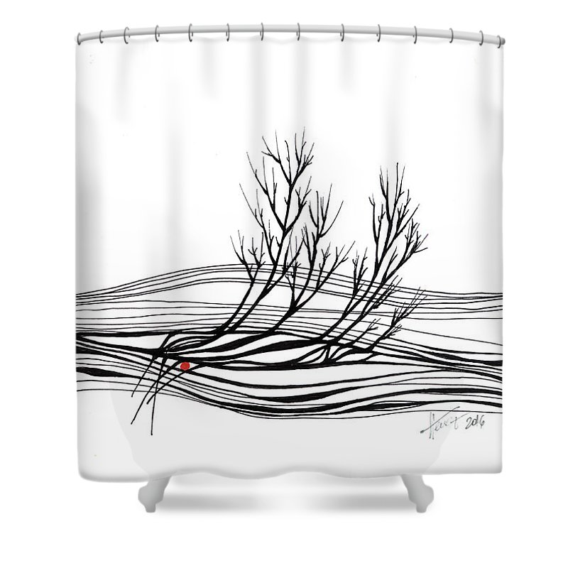 Trees Shower Curtain featuring the drawing The Seed by Aniko Hencz