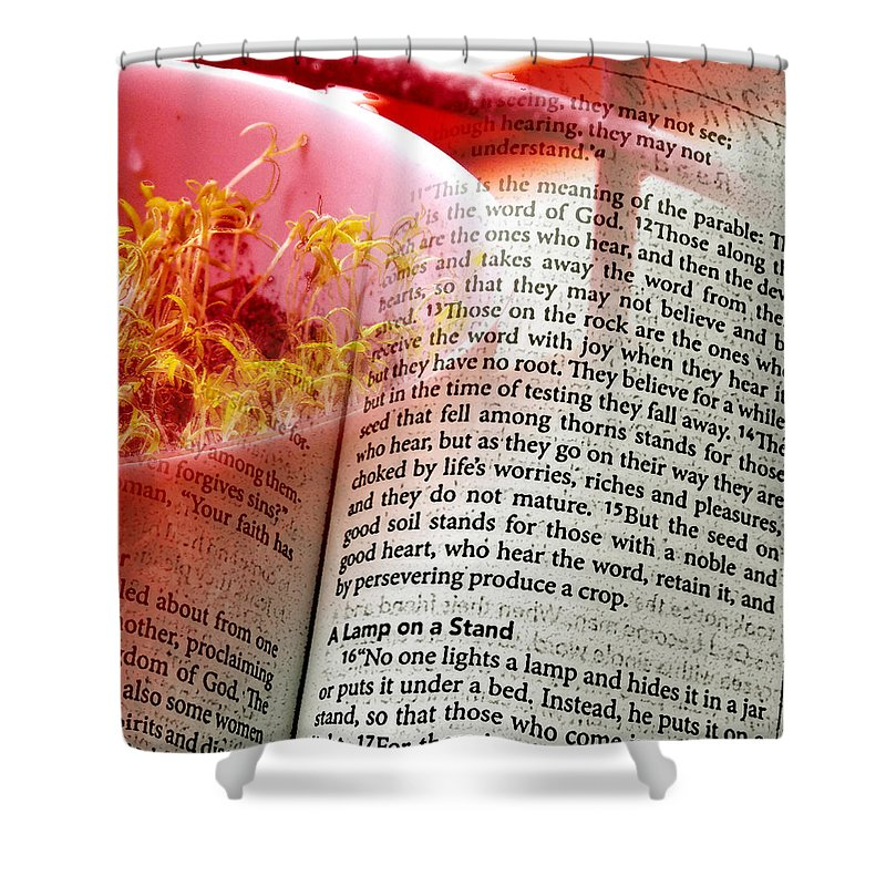 ruth Palmer Shower Curtain featuring the digital art The Seed Is The Word Of God by Ruth Palmer
