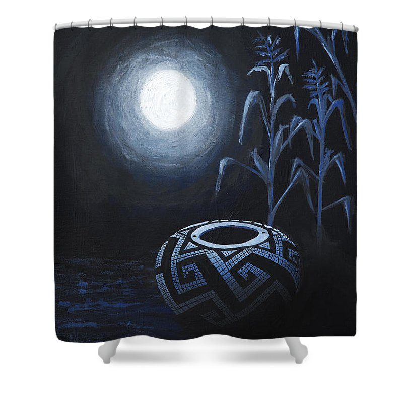 Anasazi Shower Curtain featuring the painting The Seed Pot by Jerry McElroy