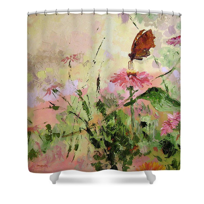 Butterflies Shower Curtain featuring the painting The Seeker by Ginger Concepcion