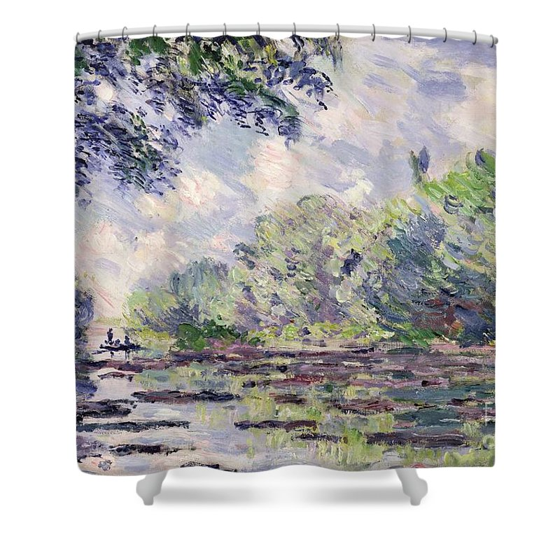 French Shower Curtain featuring the painting The Seine At Giverny by Claude Monet