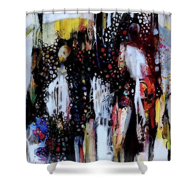 The-sensual-world Shower Curtain featuring the painting The Sensual World by Caia Matheson