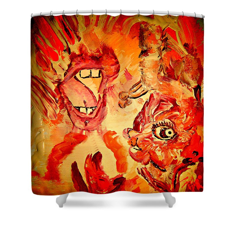 Seven Sins Art Shower Curtain featuring the painting The Seven Sins Gluttony by Colleen Ranney
