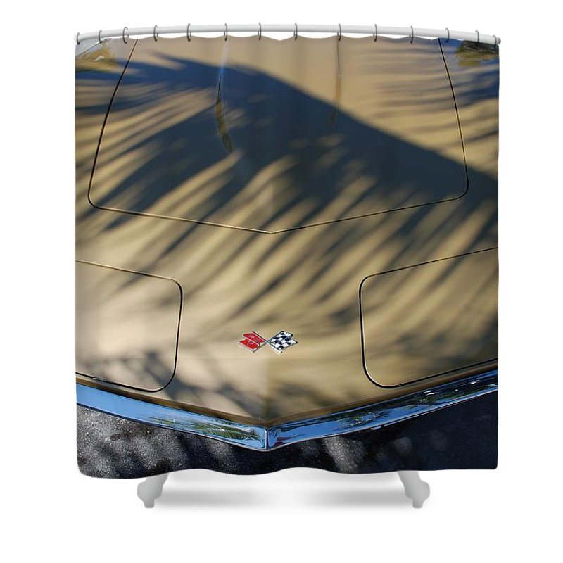 Corvette Shower Curtain featuring the photograph The Shadow Vette by Rob Hans
