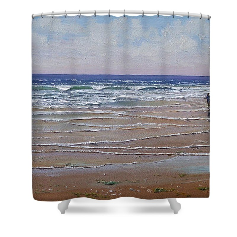 Seascape Shower Curtain featuring the painting The Shell Collector by Frank Wilson