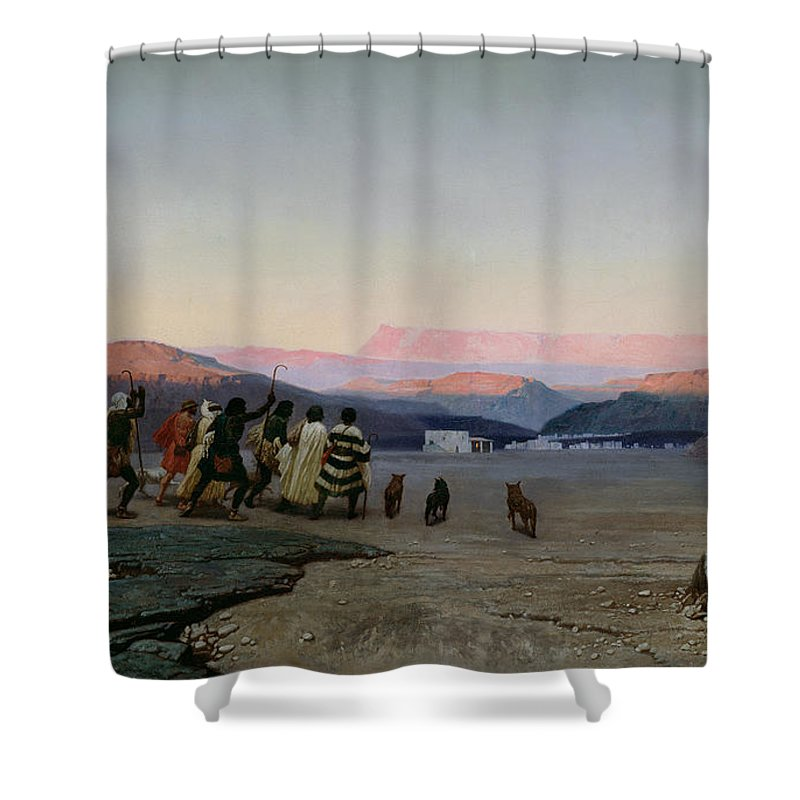 The Shower Curtain featuring the painting The Shepherds Led By The Star Arriving At Bethlehem by Octave Penguilly lHaridon
