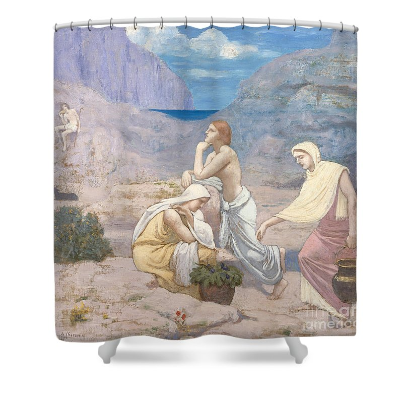 The Shepherds Song Shower Curtain featuring the painting The Shepherd's Song, 1891 by Pierre Puvis de Chavannes