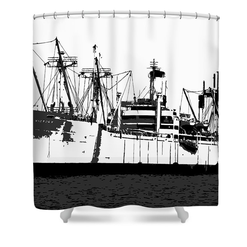 American Victory Ship Shower Curtain featuring the painting The Ship by David Lee Thompson