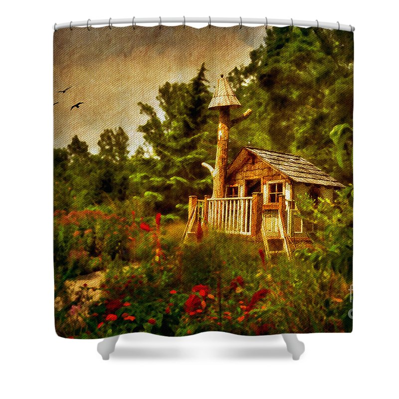 Playhouse Shower Curtain featuring the digital art The Shire by Lois Bryan