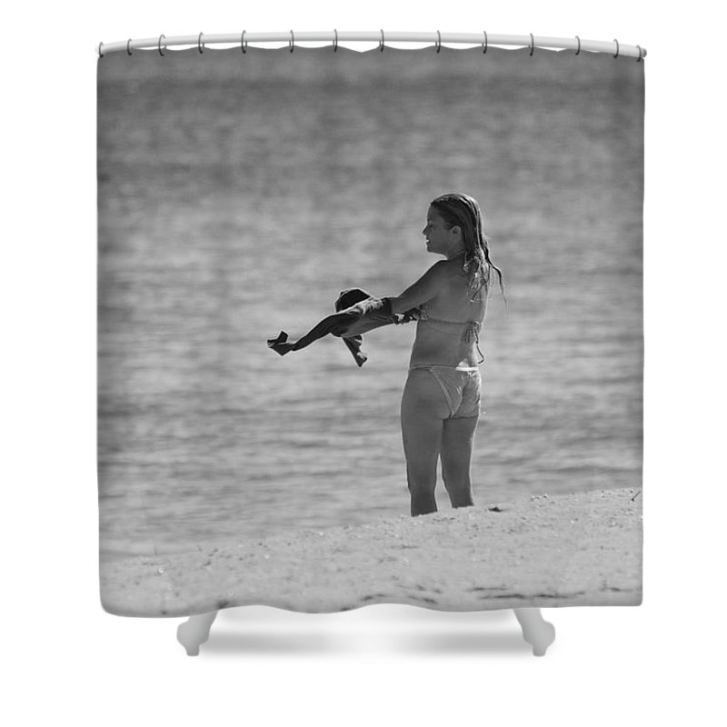 Black And White Shower Curtain featuring the photograph The Shirt by Rob Hans