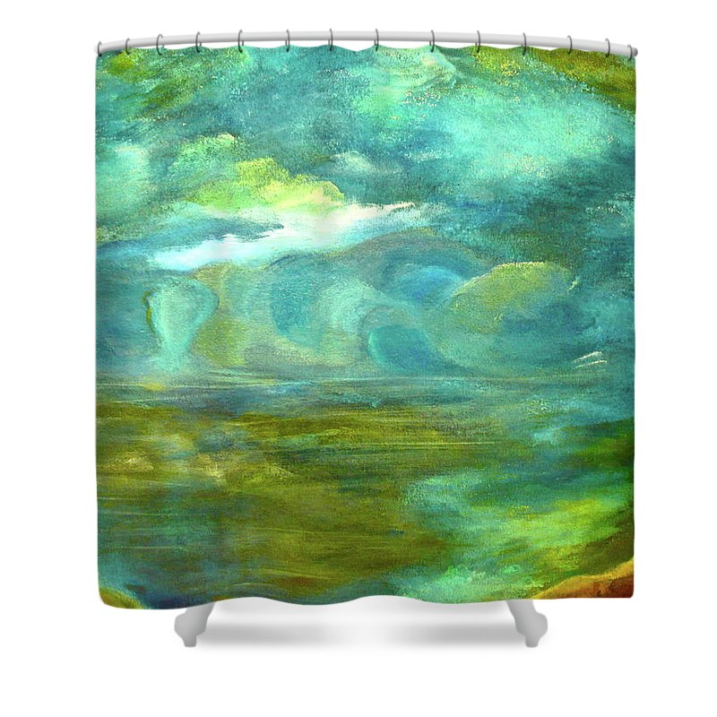 Prints Of Storybook River The Shoreline By Folk Artist J Sandoval Shower Curtain featuring the painting The Shoreline by Jeannine Sandoval