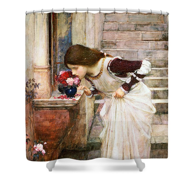 Pre-raphaelite;smelling;flowers;woman;girl;female;steps;staircase;bending Down Shower Curtain featuring the painting The Shrine by John William Waterhouse