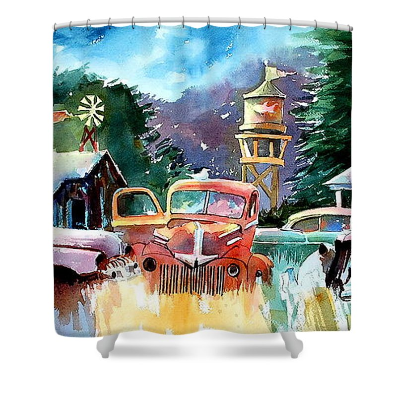 Landscape Watertower Shower Curtain featuring the painting The Sign Of The Fish On The Watertower by Ron Morrison