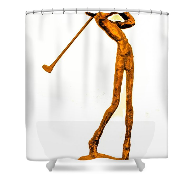 Golf Shower Curtain Featuring The Photograph Skinny Golfer By Tom Zukauskas