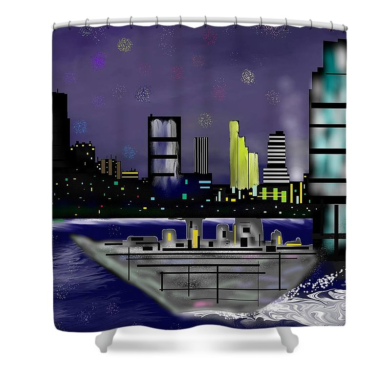 Cityscapes Shower Curtain featuring the digital art The Sky Is The Limit by Abel Padilla