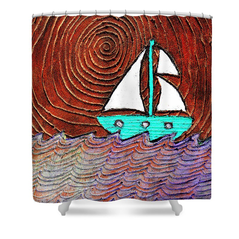Sailing Shower Curtain featuring the painting The Sky Was Bronze That Night by Wayne Potrafka